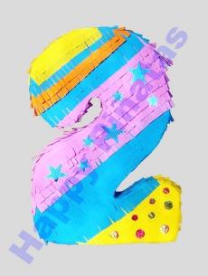 Nummer 2 Piñata - Hellblau, lila, Gelb - 50x30x12 - Preis 34,50 €